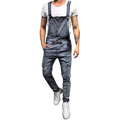 (Gift Ideas! Teresamoon Men's Overall Casual Jumpsuit Jeans Wash Broken Pocket Trousers Suspender Pants)