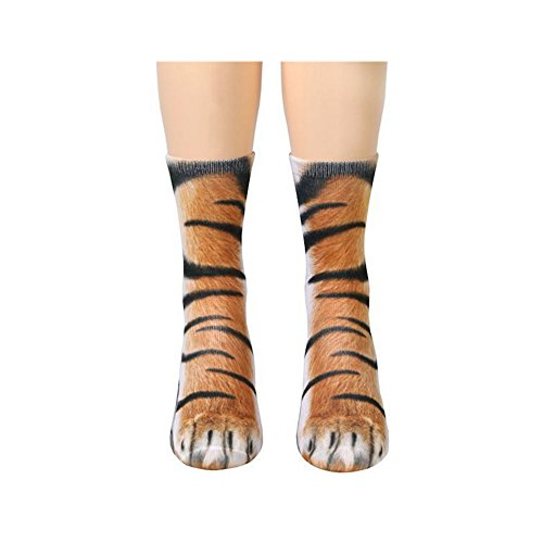 Furry Realistic Animal (Animal Feet Socks,Adult Novelty Animal Paw Crew Sublimated 3D Print Casual Socks)