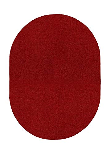 Bright House Solid Color Oval Shape Area Rugs Red – 7'x9′ Oval Review