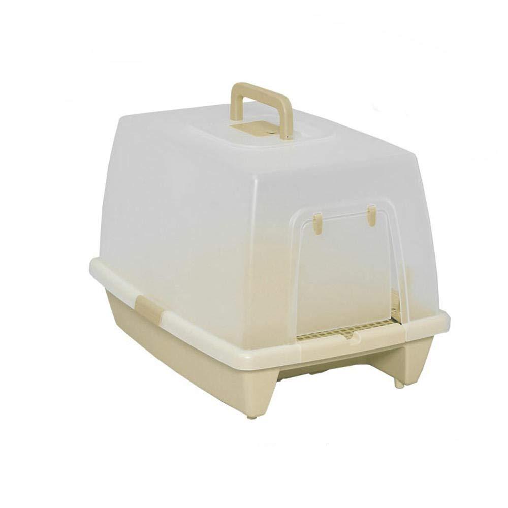 Brown tfsg Litter Box Cat Cat Sandbox Pet Single Layer Fully Closed Cat Toilet Cat Products