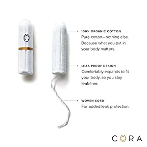 Cora Organic Cotton Non-Applicator Tampons; Chlorine & Toxin Free - Variety Pack - Regular/Super/Super Plus (54 Count)