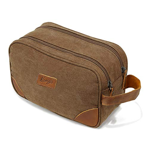 - Kemy's Mens Bathroom Travel Bag Toiletry Grooming Shaving Bags for Men Vintage Canvas Hygiene Double Zipper Toiletries Dob Dopp Kits Womens Cosmetic Bag Brown Large Easter Gifts
