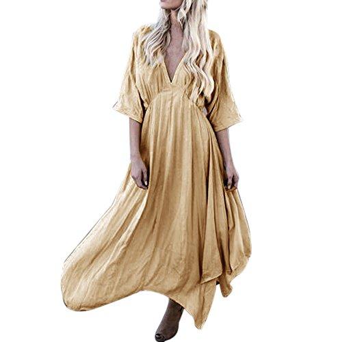 Hot Sale!! ZOMUSA Women Sexy Solid Half Sleeves V Neck Long Irregular Dress (L, Khaki) ()