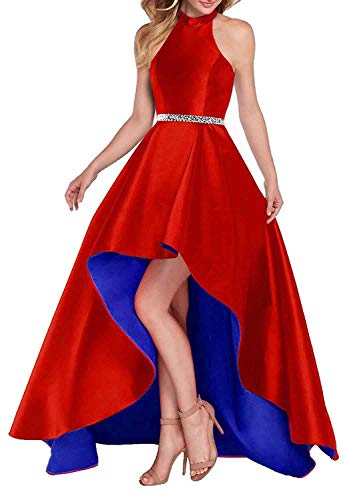 Lamosi Women Halter High Low Beaded Prom Formal Dress Long Satin Evening Homecoming Party Gown Red-Royal Blue Size 16