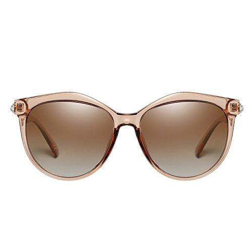 Moda UV400 Oversized Lens Brown Polarizadas Sol Frame Protect VeBrellen De Gafas Transparent para Mujeres 54ZH5gyc