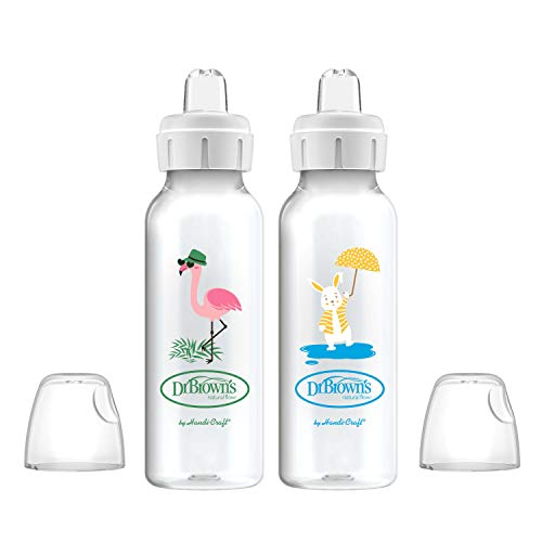 Dr. Brown's Options+ Sippy Spout Baby Bottles, Flamingo & Bunny, 8 Ounce, 2 Count