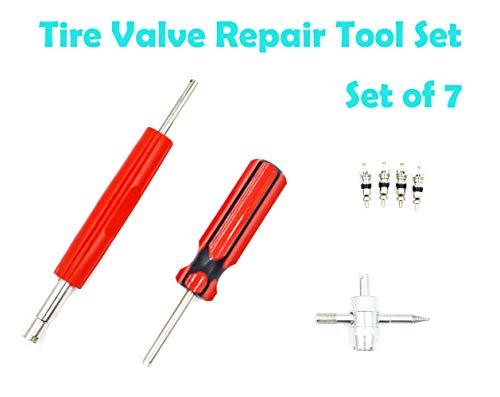 Accretion Tire Valve Repair Tool Set, 7 Pcs, Dual Single Head Valve Core Remover Tools, 4-Way Valve Tool, 4 Brass Valve Cores