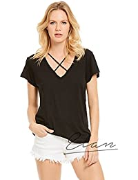 S/S Top with X Neck