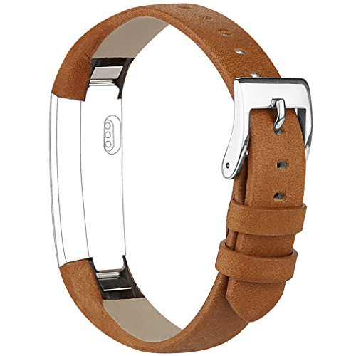 Vancle Band Compatible with Fitbit Alta/Fitbit Alta HR 2017 Leather Wristband Adjustable Replacement Accessories Strap with Buckle for Fitbit Alta and Fitbit Alta HR (Brown)