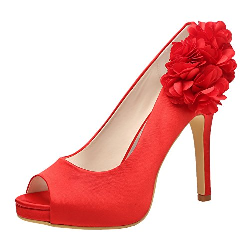 Toe M Platform Prom Satin Heel Shoes Peep Women Flowers MULGARIA High Evening Red Pumps Wedding qgf0xqARrw