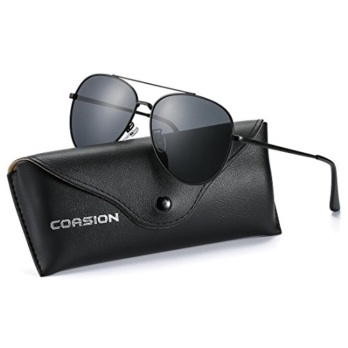 COASION Classic Aviator Sunglasses Polarized Mirror Lens Shades for Men Women with Leather Case - 55mm Sunglasses