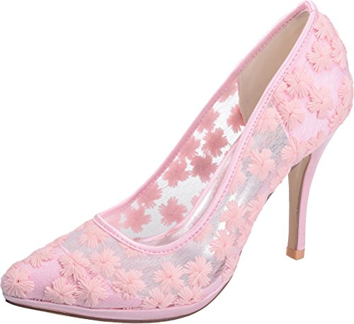 31 Pink Job Toe Heeled Pumps Work Bride Pointed Nightclub Comfort Salabobo Platform Wedding 0255 Ladies Lace Ol ax58F