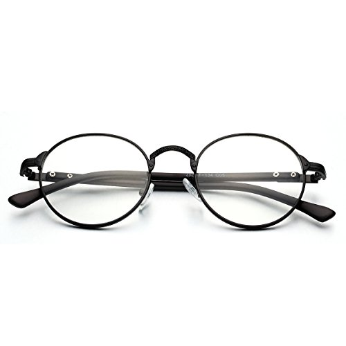 PenSee Vintage Glyph Metal Design Round Circle Clear lense Eyeglasses Glasses - Shaped Man Face Glasses For Oval