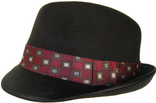 100% Wool C Crown Stingy Brim Felt Fedora with Necktie Hat Band (S ... 497e881ca00