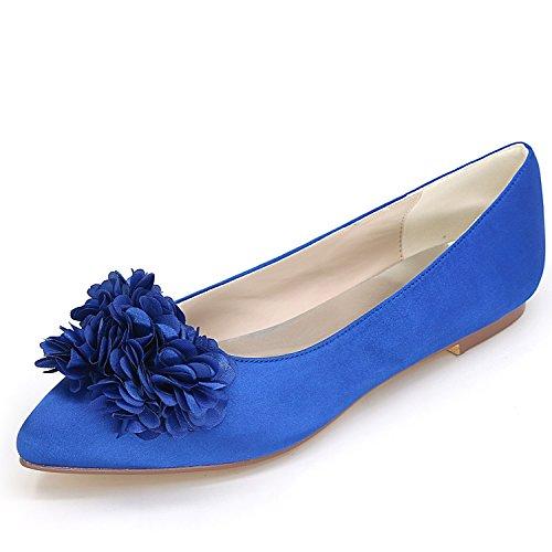 Pompe 07H Avorio Raso Fiori Donna Blue Chunky Tacco Punta da Court 2046 Sposa 6 di Tonda per Elobaby Cm Scarpe Prom 5 AO7PwRgc4q