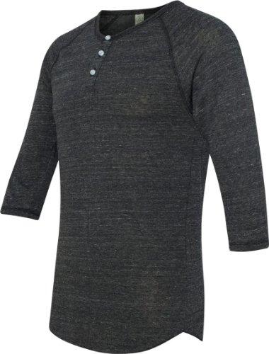 Alternative Jersey Quarter Sleeve Henley Tee, Eco Black, Medium