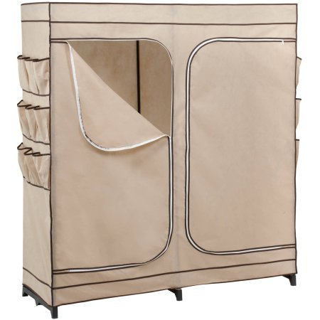 Honey Can Do 60 Double Door Storage Closet with Shoe Organizer, Khaki/Brown Trim