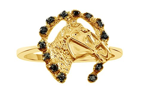 Jewel Zone US Black Natural Diamond Horse Ring in 14k Gold Over Sterling Silver (0.02 Ct) (Rings Horse Women Gold For)