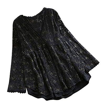 Long Sleeve Blouse Women Vintage Casual Lace V-Neck Button Linen Top T-Shirt