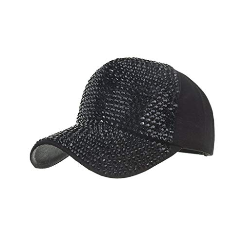 BODOAO Hats Cap Men Women Baseball Caps Fashion Adjustable Cotton Cap Star Rhinestone Cap Black]()