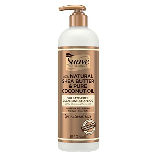 Suave Professionals Natural Shea Butter & Pure Coconut Oil Sulfate-Free Cleansing Shampoo,16.5 Fluid Ounces