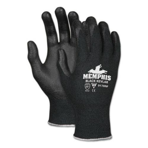 MCR Safety 9178NFS 13 Gauge Kevlar/Synthetic Fiber Memphis Black Kevlar Gloves with Nitrile Foam palm/Fingers (1 Pair), Small