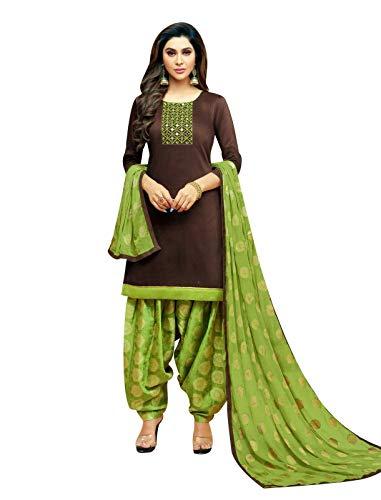 Ladyline Ready to Wear Kora Silk Handwork Salwar Kameez with Jacquard Dupatta (Size_54/ Brown) ()