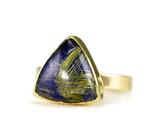 Contemporary Trillion Ring (14k Gold Rutilated Quartz on Lapis Ring- Size 7.5)