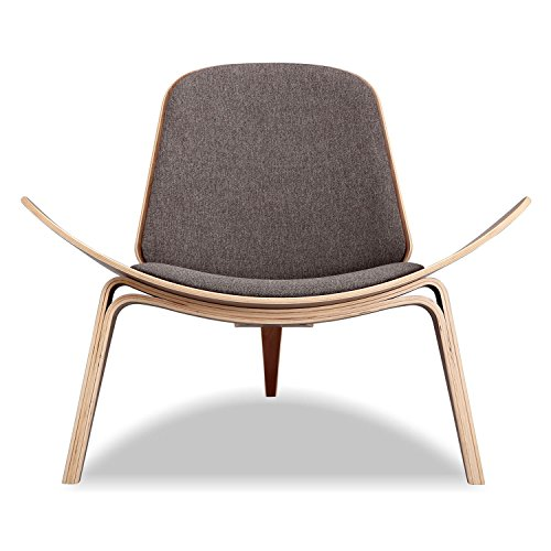 Kardiel Tripod Plywood Modern Lounge Chair, Urban Storm Twill/Walnut For Sale