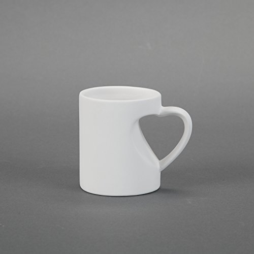 Duncan 30619 Small Heart Mug, Case of 24 Pieces, Unfinished Ceramic Bisque, With How To Paint Your Own Pottery Booklet
