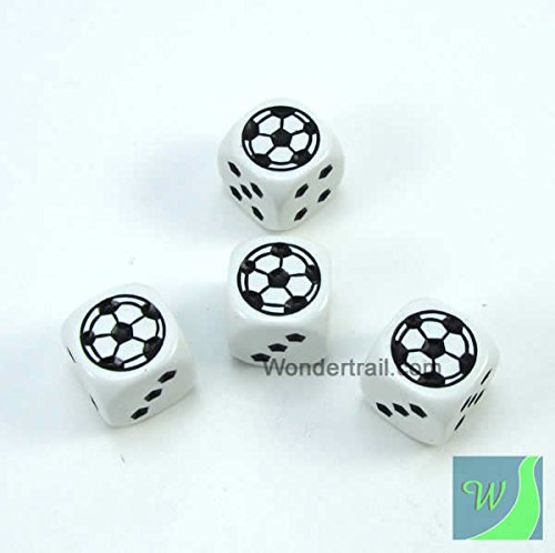 Soccer Dice Game (WKP13184E4 Soccer Dice D6 White Opaque with Black Pips 18mm (23/32in) Set of 4 Dice Koplow)