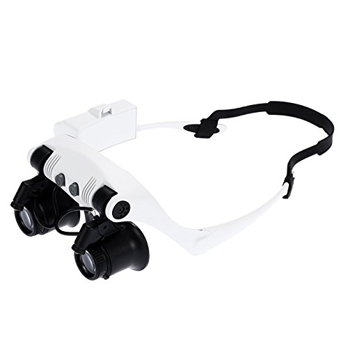 zinnor Head Wearing Magnifying Lens for Double Eye Observation 2 LED Lights Lighted Magnifier Jewelry Clock Repair Loupe 10X 15X 20X 25X