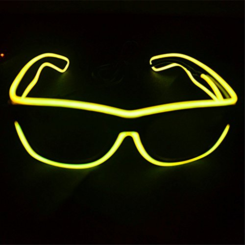 el glasses, el wire with 3v AAA portable controller (Yellow)