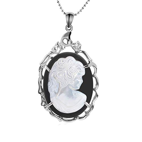 (xinchengquzhihao Women Vintage Jewellery Natural White Shell Carved Portrait Charm Hollow Oval Cameo Pendant Necklaces,Necklace)