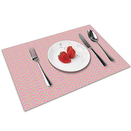 chang jin you Placemats Set of 4,Flying Stripe Pastel Parasol Heat-Resistant Placemats Washable Table Mats for Kitchen Dining Table