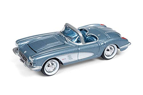 Johnny Lightning 1958 Chevy Corvette Convertible, Blue JLDR003/24 - 1/64 Scale Diecast Model Toy - 1958 Chevy Corvette
