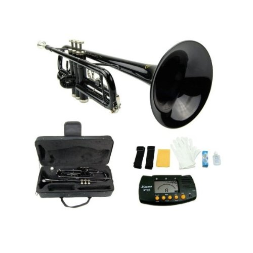 MERANO BLACK LACQUER PLATED TRUMPET WITH CASE + FREE METRO TUNER