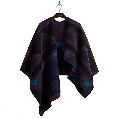 Zoodq Taille hiver femme manches Boho longues avec poncho violet unique et à Veste couleur longues multicolor violet manches rxfwOr