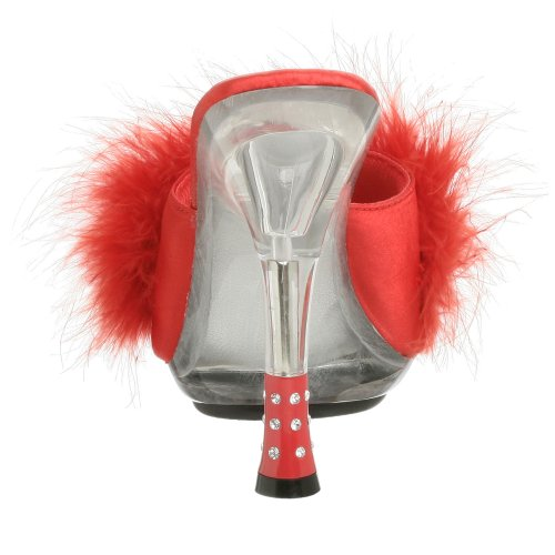 b Gli501 Fur 8 Red Mules c Femmes Satin Pleaser clr 6P1xw4q4