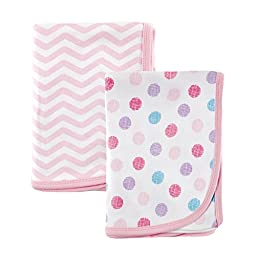 Luvable Friends 2 Piece Cotton Receiving Blankets, Pink Dots