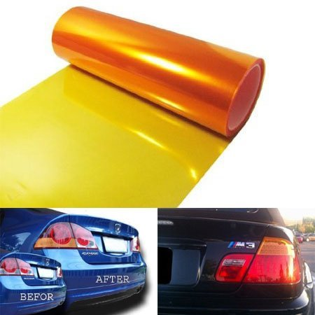 - 12 by 48 inches Self Adhesive Orange Amber Headlights, Tail Lights, Fog Lights, Sidemarkers Tint Vinyl Film