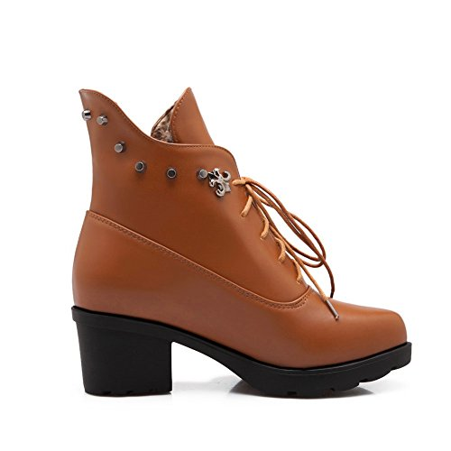 Imitated Rivet Brown AdeeSu Round Kitten Toe Leather Heels Girls Boots wCCq5Yp