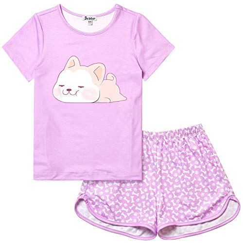 Girls Summer Pajamas Dog Purple Sleepwear Kid Cute Cotton Teen Short Sleeves