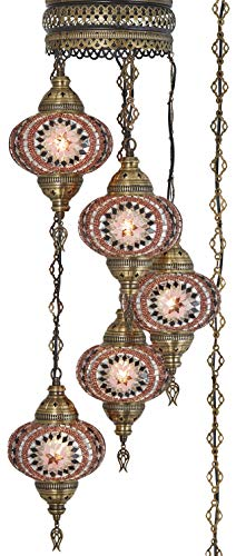 (10 Colors) Swag Plug in Light, Demmex 5 Big Globes Turkish Moroccan Mosaic Tiffany Swag Wall Plug in Ceiling Hanging Light Chandelier Lighting, 15feet Chain Cord North American Plug (Lavender)