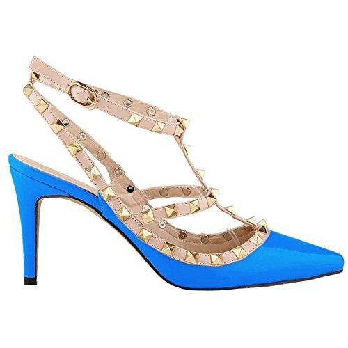 Arc-en-ciel zapatos de la hebilla de la tachonadas del dedo del pie en punta sandalias de tacón alto Azul