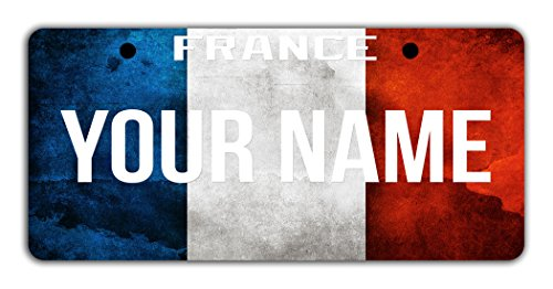 France National Costume Men (BleuReign(TM) Personalized Custom Name License France Flag Plate Bicycle Bike Moped Golf Cart 3