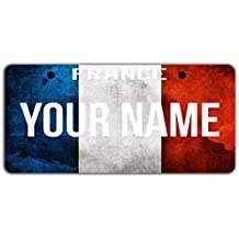 "BleuReign(TM) Personalized Custom Name License Country Flag Plate Bicycle Bike Moped Golf Cart 3""x6"" Tag"