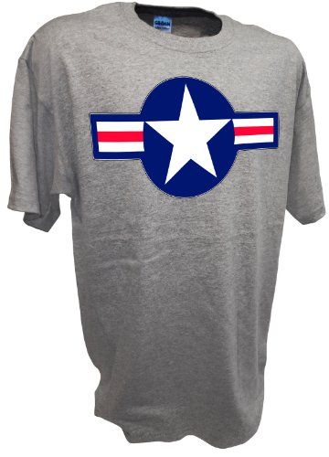 Achtung T Shirt LLC USAF US Airforce Roundel F16 F22 P38 P51 Mustang F6F Ww2 Fighter Warbird Airplane Model Tee Sport Gray