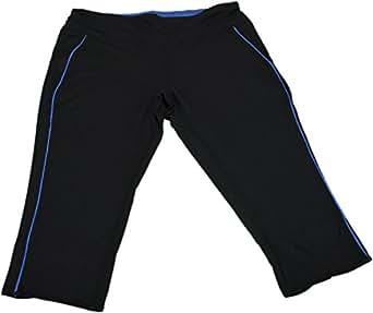 Tangerine Ladies Athletic Capri Pants w/Back Zip Pockets Black/Blue (Small)