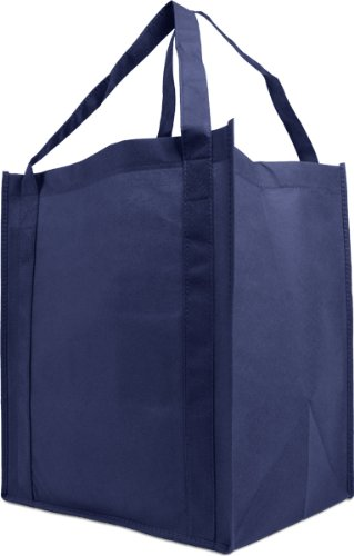Reusable Reinforced Handle Grocery Tote Bag Large 10 Pack - Navy ()